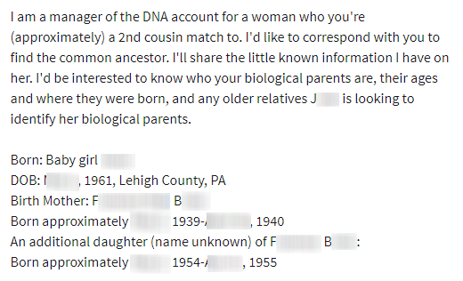 Birth mother's biological relative letter