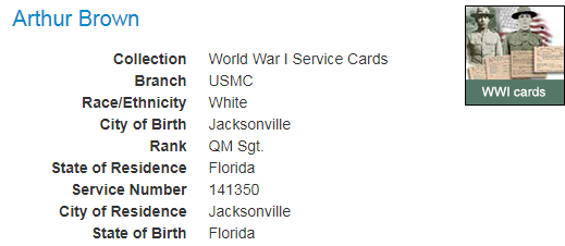 WWI Service Cards_Florida