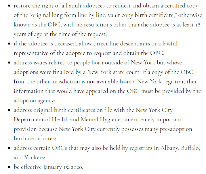 New York Adoptee Birth Certificate